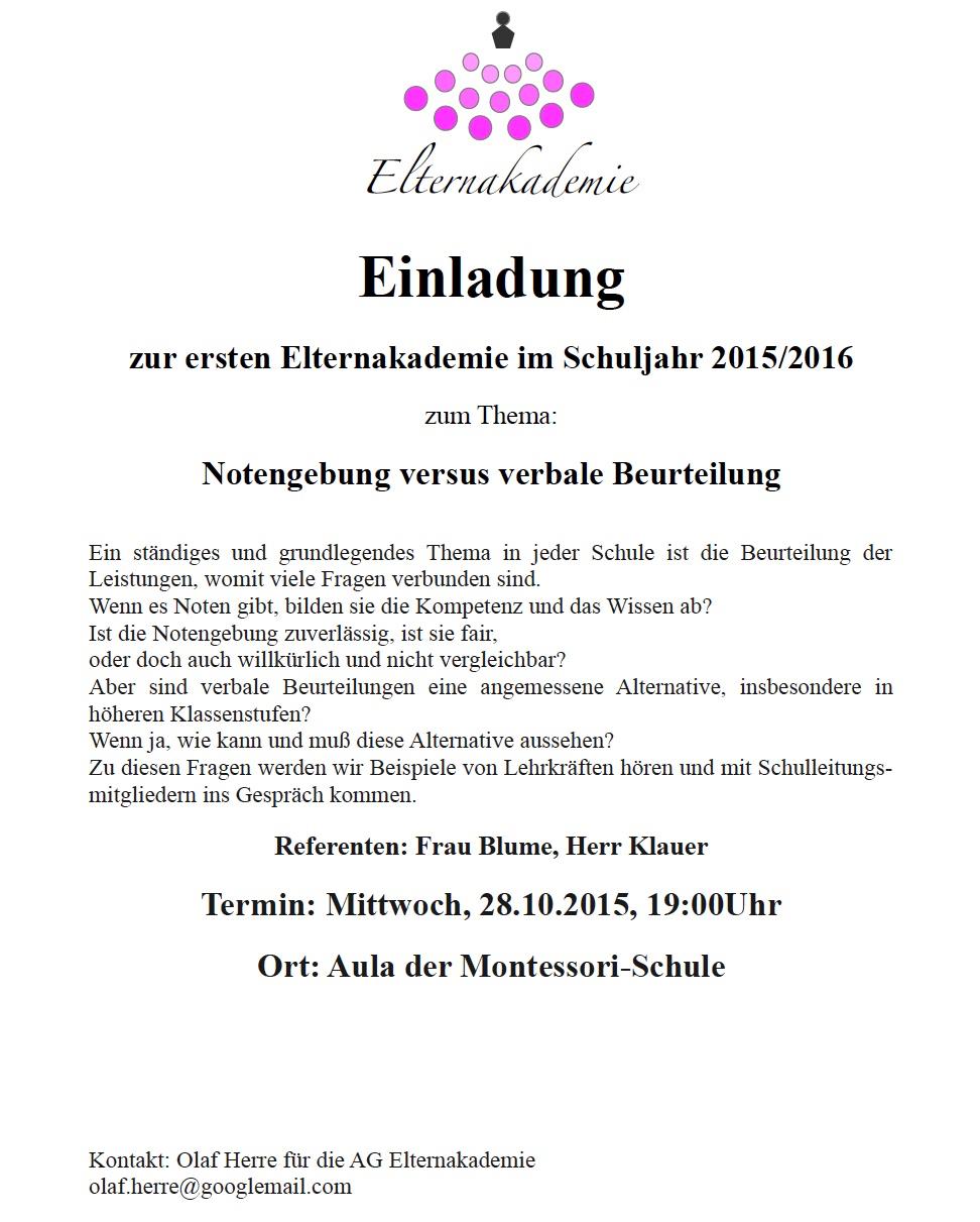 Montessorischule Jena Einladung Zur Elternakademie Am 28 10 2015